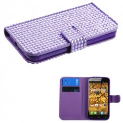 Alcatel One Touch Fierce Purple Diamonds Book-Style Wallet with Card Slot