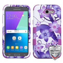 Samsung Galaxy J3 Purple Hibiscus Flower Romance/Electric Purple Hybrid Case