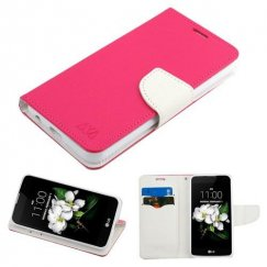 LG K8 Hot Pink Pattern/White Liner wallet with card slot
