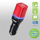 Black/red Anion Car Charger with Air Purifier with Dual USB output - 3.1 Amps