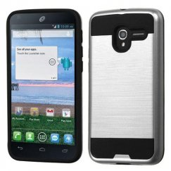 Alcatel Stellar / Tru 5065 Silver/Black Brushed Hybrid Case