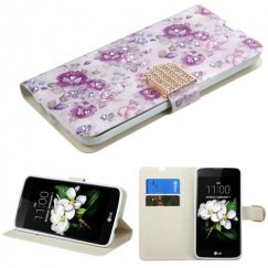 LG K7 Fresh Purple Flowers Diamante Wallet with Diamante Belt