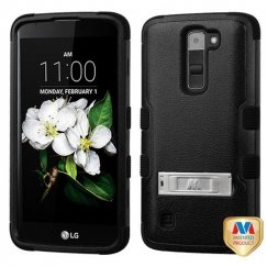 LG K7 Natural Black/Black Hybrid Case with Stand