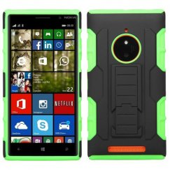 Nokia Lumia 830 Black/Electric Green Car Armor Stand Case - Rubberized