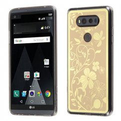 LG V20 Phoenix-tail Flowers Electroplating (Gold)/Transparent Clear Gummy Cover