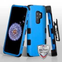 Samsung Galaxy S9 Plus Natural Dark Blue/Black Hybrid Phone Case Military Grade with Black Horizontal Holster