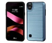 LG X Style / Tribute HD Ink Blue/Black Brushed Hybrid Protector Cover (with Carbon Fiber Accent)