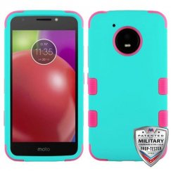 Motorola Moto E4 Rubberized Teal Green/Electric Pink Hybrid Case Military Grade