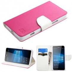 Nokia Lumia 950 Hot Pink Pattern/White Liner wallet with Card Slot