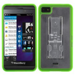 Blackberry Z10 Transparent Clear/Solid Green with Stand Gummy Cover
