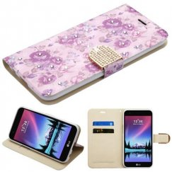 LG K10 Fresh Purple Flowers Diamante Wallet with Diamante Belt