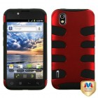 LG Marquee Titanium Red/Black Fishbone Phone Protector Cover
