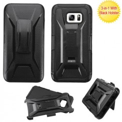 Samsung Galaxy S6 Edge Plus Black/Black Advanced Armor Stand Case with Black Holster