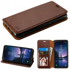 Samsung Galaxy S8 Active Brown Wallet with Tray