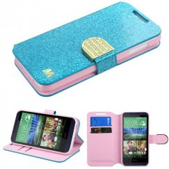 HTC Desire 510 Blue Glittering Wallet with Diamante Belt