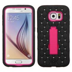 Samsung Galaxy S6 Hot Pink/Black Symbiosis Stand Case with Diamonds