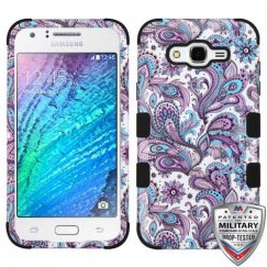 Samsung Galaxy J7 Purple European Flowers/Black Hybrid Case