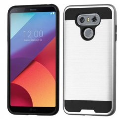 LG G6 Silver/Black Brushed Hybrid Case