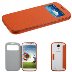 Samsung Galaxy S4 Orange Wallet with Orange/T-Clear Gummy Cover Tray