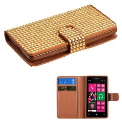 Nokia Lumia 521 Gold Diamonds Book-Style Wallet with Card Slot