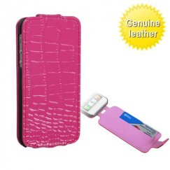 Apple iPhone 5/5s Crocodile Skin Hot Pink Wallet with Card Slot