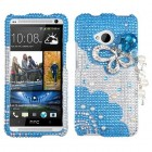 HTC One M7 Blue Butterfly Chain Premium 3D Diamante Case