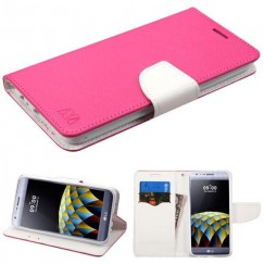 LG X Cam K580 Hot Pink Pattern/White Liner wallet with Card Slot