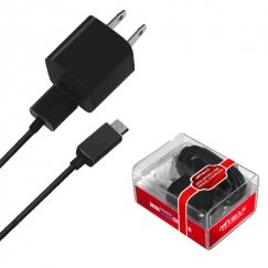 MICRO USB Black Travel Charger with USB Port (2-in-1)