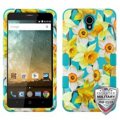 ZTE Prestige 2 Spring Daffodils/Tropical Teal Hybrid Phone Protector Cover [Military-Grade Certified]
