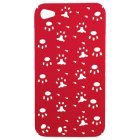 Apple iPhone 4, 4S Snap On Protective Case, Red with Footprint Pattern
