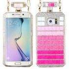 Samsung Galaxy S6 Edge Gradient Stripes Crystals Diamante Perfume Bottle Candy Skin Cover with Chain