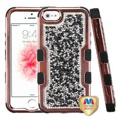 Apple iPhone 5s Rose Gold Plating Frame Mini Crystals Back/Black Vivid Hybrid Case