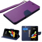 LG G Stylus 2 Purple Pattern/Dark Blue Liner wallet (with Lanyard)