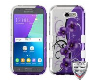Twilight Petunias (2D Silver)/Solid White Hybrid Phone Protector Cover [Military-Grade Certified]