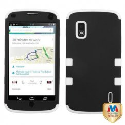 LG Nexus 4 Rubberized Black/Solid White Hybrid Case
