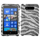 Nokia Lumia 820 Black Zebra Skin Diamante Protector Cover