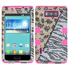 LG Splendor / Venice Hottie Diamante/Electric Pink Hybrid Case