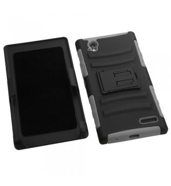 ZTE Warp Elite Black/Gray Advanced Armor Stand Case with Black Holster