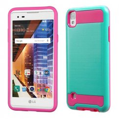 LG X Style / Tribute HD Teal Green/Hot Pink Brushed Hybrid Case
