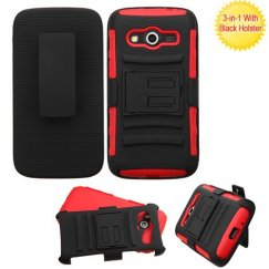 Samsung Galaxy Avant Black/Red Advanced Armor Stand Case with Black Holster