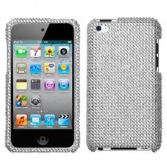 Apple iPod Touch (4th Generation) Silver Diamante Case