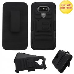 LG G5 Black/Black Advanced Armor Stand Case with Black Holster
