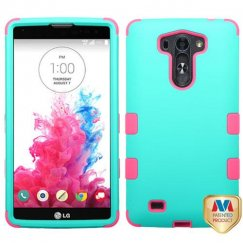 LG G Vista Rubberized Teal Green/Electric Pink Hybrid Case