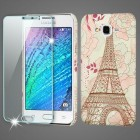 Samsung Galaxy J7 Eiffel Tower Mod Leather Case with Tempered Glass Screen Protector