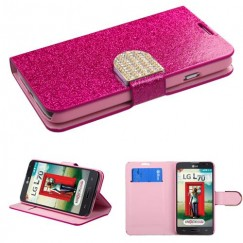 LG Optimus L70 Hot pink Glittering Wallet with Diamante Belt