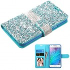 Samsung Galaxy J7 Baby Blue Mini Crystals with Silver Belt Wallet