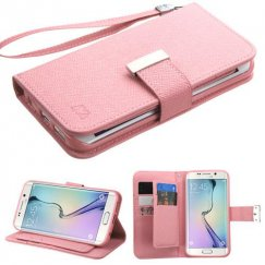 Samsung Galaxy S6 Edge Pink D'Lux Wallet with Button Closure