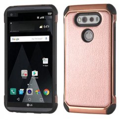 LG V20 Rose Gold Lychee Grain Rose Gold Plating/Black Astronoot Case