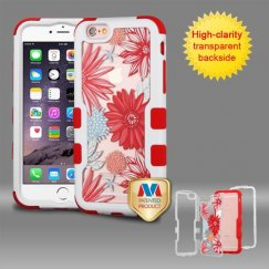 Apple iPhone 6/6s Plus Natural Ivory White Frame Spring Daisies PC Back/Red Vivid Hybrid Case