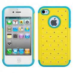 Apple iPhone 4/4s Yellow/Tropical Teal Luxurious Lattice Dazzling TotalDefense Case
